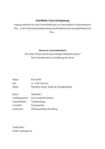 Schriftliche Unterrichtsplanung - von Nicole Liesenhoff-Schubert