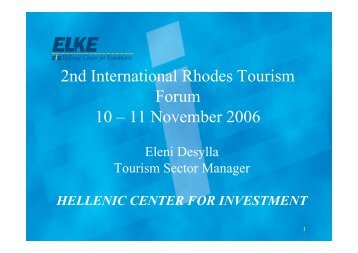 2nd International Rhodes Tourism Forum 10 – 11 November 2006