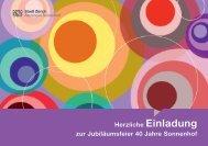 Herzliche Einladung zur Jubiläumsfeier 40 Jahre Sonnenhof - Zürich