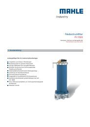 Niederdruckfilter Pi 1500 - MAHLE Industry - Filtration