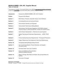 MANN+HUMMEL USA, INC. Supplier Manual