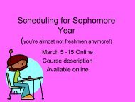 Scheduling for Sophomore Year (you're almost not freshmen ...