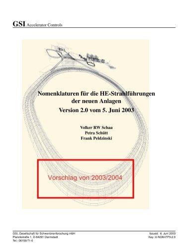 Nomenklaturen für die HE-Strahlführungen der neuen ... - BEL - GSI