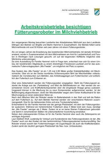 Arbeitskreisbetriebe besichtigen Fütterungsroboter im ... - Bayern