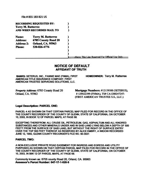 NOTICE OF DEFAULT - National Republic Registry