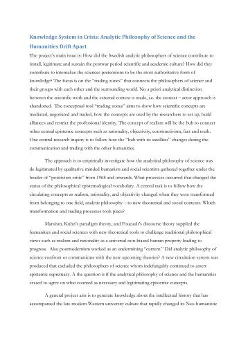 Knowledge System in Crisis: Analytic Philosophy of Science and the ...