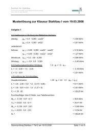 Musterlösung zur Klausur Stahlbau I vom 19.03.2008