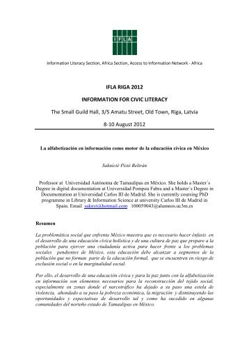 IFLA RIGA 2012 INFORMATION FOR CIVIC LITERACY ... - Academia