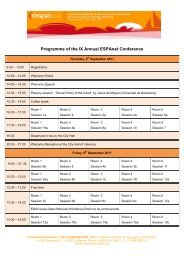 Programme of the IX Annual ESPAnet Conference - 9th Annual ...