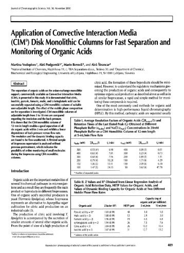 Application of Convective Interaction Media (CIM®) Disk Monolithic ...