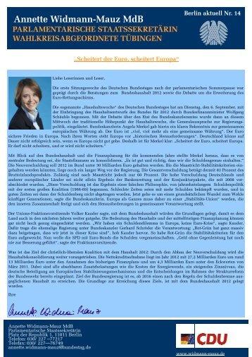 Annette Widmann-Mauz MdB Aus der Bundesregierung