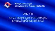 2012 Yılı Ar-Ge Merkezleri Performans Endeks Değerlendirmesi Sonuçları