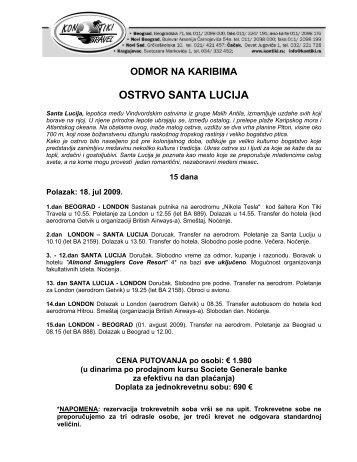 OSTRVO SANTA LUCIJA - Kontiki