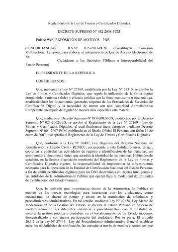 decreto supremo n°052-2008-pcm reglamento de la ley de firmas y ...