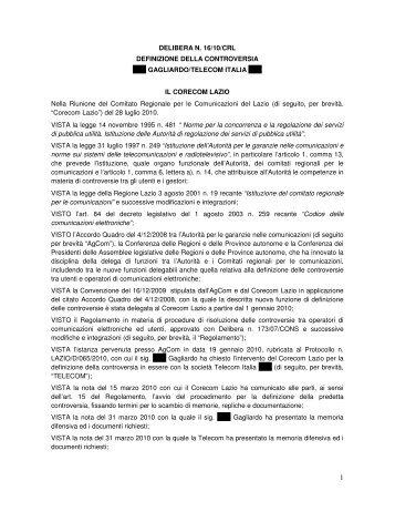 DELIBERA N. 16/10/CRL DEFINIZIONE DELLA ... - Corecom Lazio