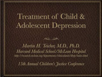 Treatment of Child & Adolescent Depression - McLean Hospital