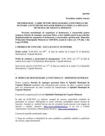 Metodologie de concurs - Spital Moinesti