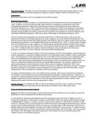 effect of LNS on infant development - 2-pager ... - The iLiNS Project