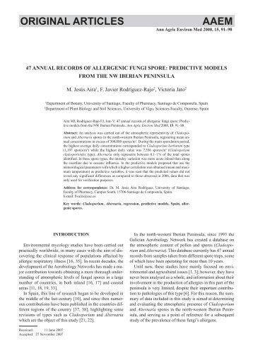 47 annual records of allergenic fungi spore: predi... - ResearchGate