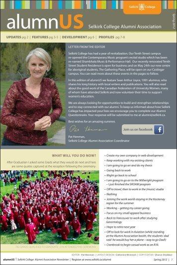 Alumnus Newsletter Spring 2012 - Selkirk College