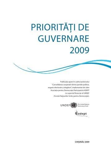 Prioritati de Guvernare 2009 - ADEPT