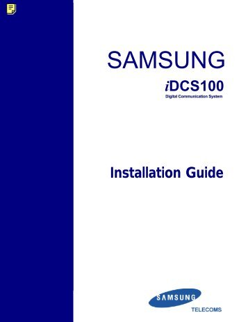 Samsung IDCS100 Installation Manual - Samsung Telephone ...