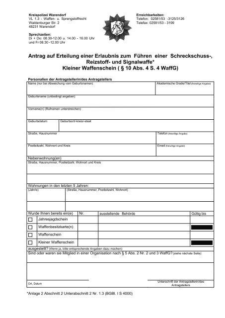 Kleiner Waffenschein Frankfurt