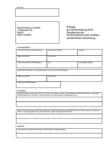 Antrag auf Genehmigung einer Sondernutzung mit Erfordernis einer ...