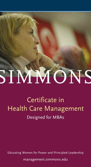 Certificate in Health Care Management - Simmons College