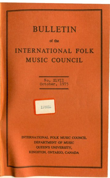 Oct 1975 - International Council for Traditional Music