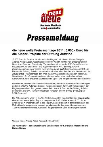 die neue welle Freiwaschtage 2011: 5.000,- Euro für die Kinder ...
