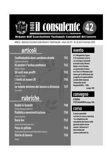 N. 42 del 6 novembre 2004 754 il consulente 1081 - Ancl
