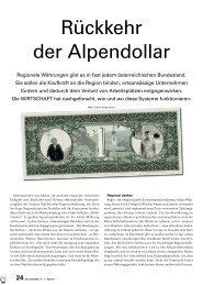 Rückkehr der Alpendollar - Bericht Die Wirtschaft April ... - Waldviertler