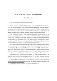Mind and Consciousness: Five Questions - David Chalmers