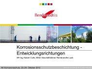 Korrosionsschutzbeschichtung - Entwicklungsrichtungen