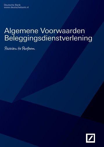 Algemene Voorwaarden Beleggingsdienstverlening - Deutsche Bank