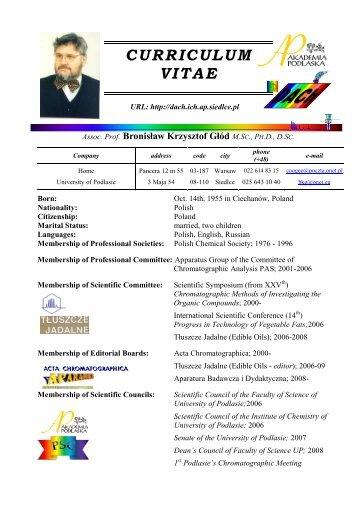 CURRICULUM VITAE - Zakład Chemii Analitycznej