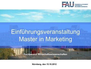 Einführungsveranstaltung Master in Marketing WS 2012/13 - am ...