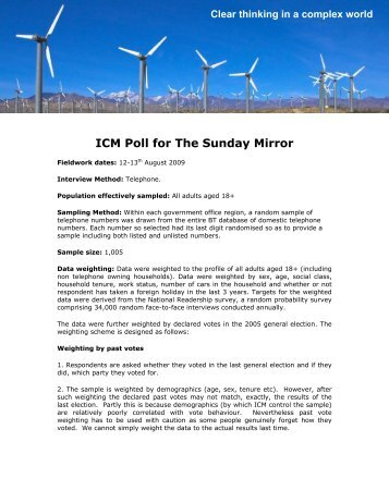 Labour Leadership Poll for Sunday Mirror - ICM Research