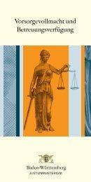 Vollmacht, Betreuung-Justizministerium BaWü ... - Klinik Tettnang