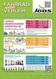 fahrrad- verleih e-bike mtb | rennrad tandem - Zweirad Joos
