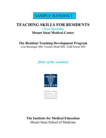 Sample Handout for Residents on Teaching - Graduate Medical ...
