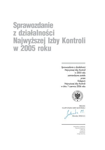 Sprawozdanie z działalności NIK w 2005 roku (plik PDF)