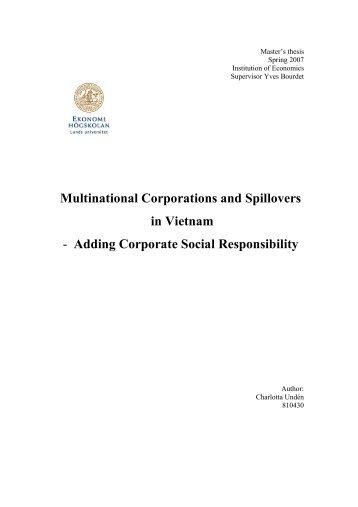 Master's thesis - FDI and CSR in Vietnam - CSR WeltWeit