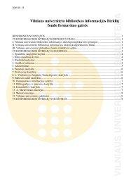 Vilniaus universiteto bibliotekos informacijos išteklių fondo ...