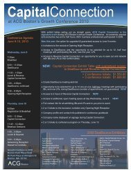 Capital Connection - Association for Corporate Growth - Boston ...