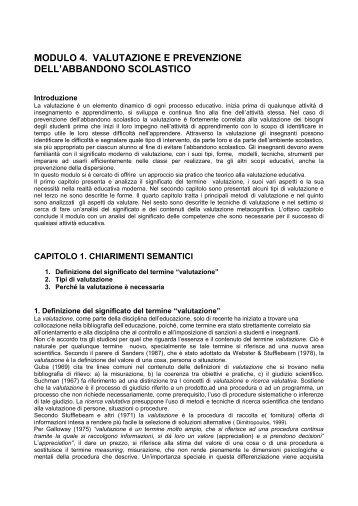 modulo 4. valutazione e prevenzione dell ... - School Inclusion