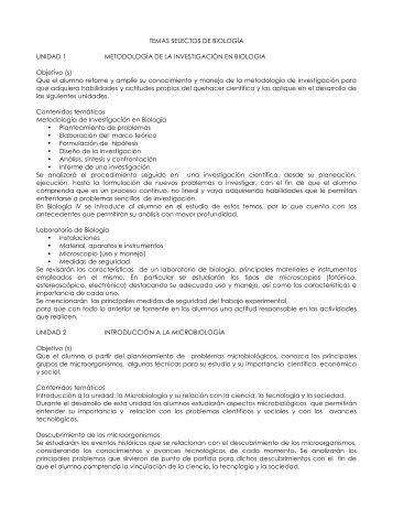 TEMAS SELECTOS DE BIOLOGÍA UNIDAD 1 METODOLOGÍA DE ...