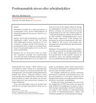 Posttraumatisk stress efter arbejdsulykker - Arbejdsmedicinsk klinik