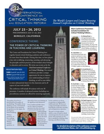 2012 Conference Brochure - The Critical Thinking Community